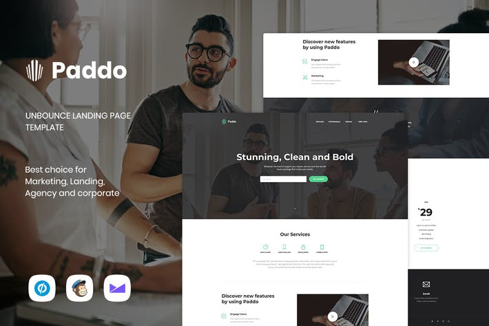 Cover Image For Paddo - Modèle de page de destination Unbounce Services