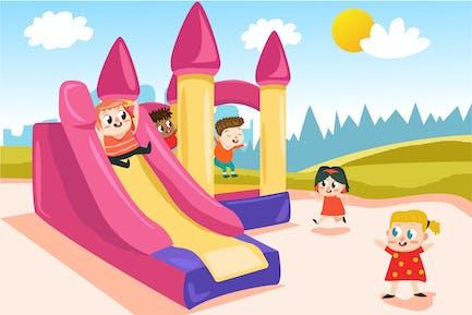 Kids on Playground - Ilustración Vector