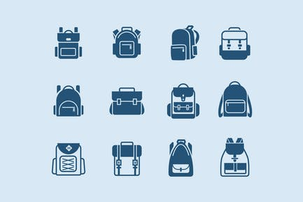 12 School Backpack Icons