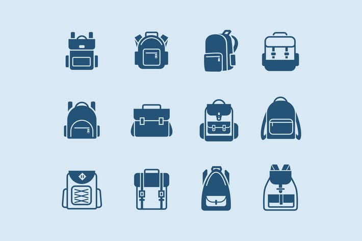 Thumbnail for 12 School Backpack Icons