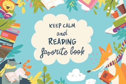 Lindo marco compuesto de animales leyendo libros