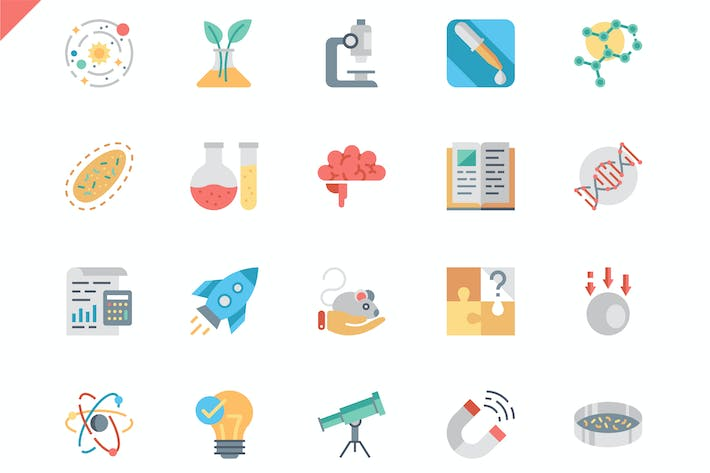 Thumbnail for Simple Set Science Flat Icons