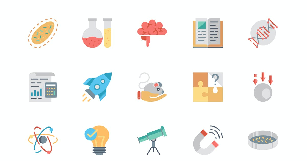 Download Simple Set Science Flat Icons by alexdndz