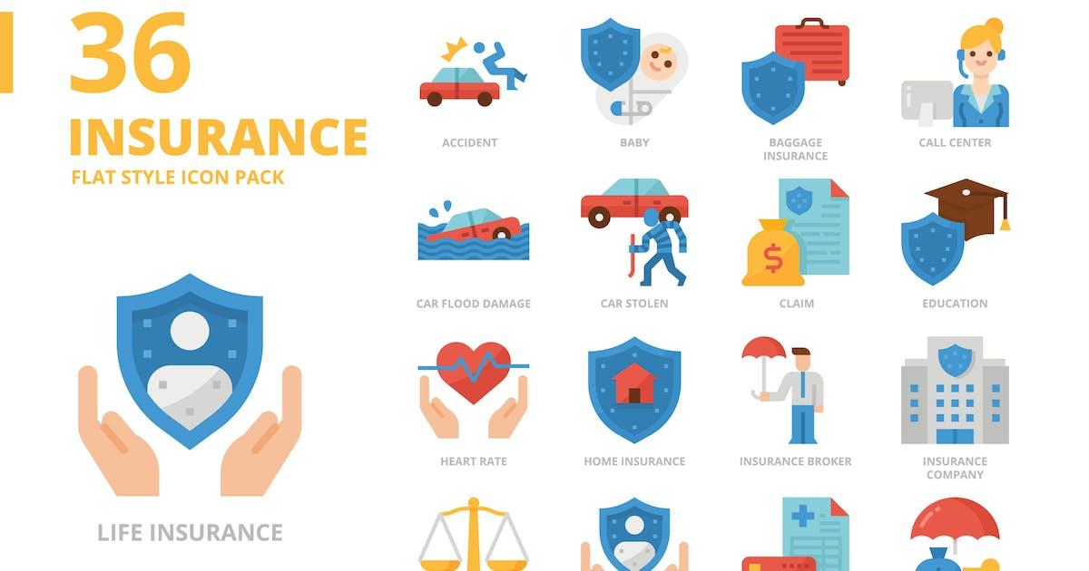 Download Insurance Flat Style Icon Set by monkik