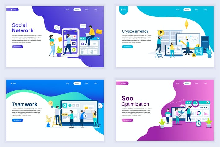 Cover Image For Landing Page Templates Flat Concept