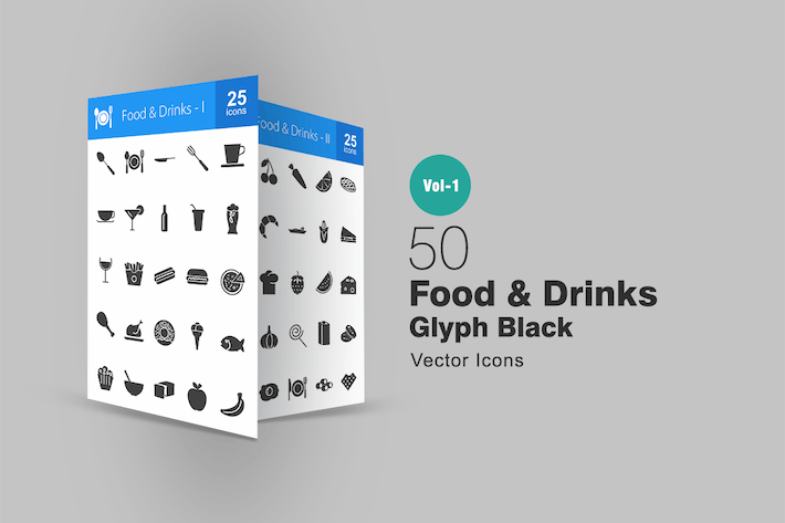 Thumbnail for 50 Food & Drinks Glyph Icons