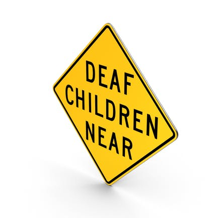 Deaf Children Near California Road Sign