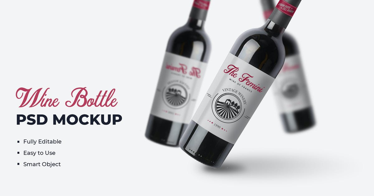 Download Wine Bottle Mockups Template by VictorThemes