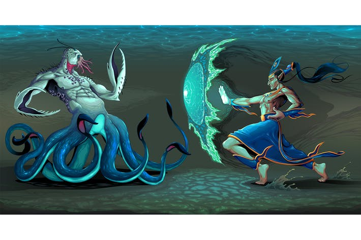 Thumbnail for Fighting Scene Between Elf and Sea Monster