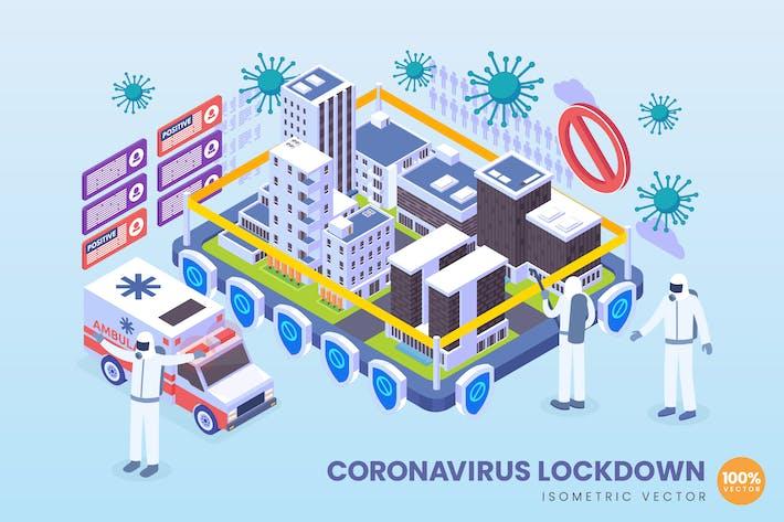 Thumbnail for Isometrisches Coronavirus-Lockdown-Vektor konzept