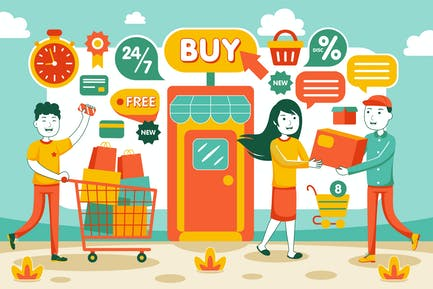 Online Shopping Vector Illustration #01