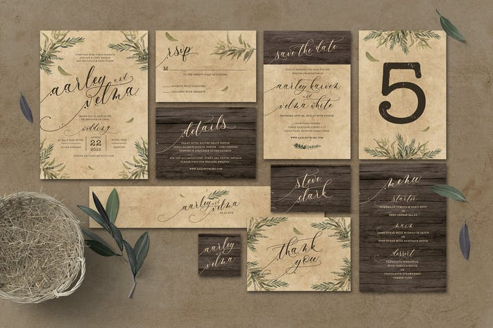 Cover Image For Rustic Wedding Invitation Suite
