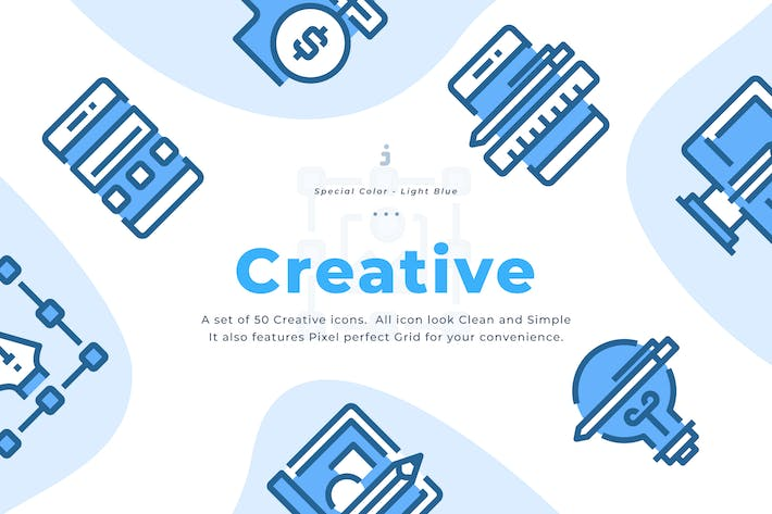 Thumbnail for 50 Creative Icons - Light Blue