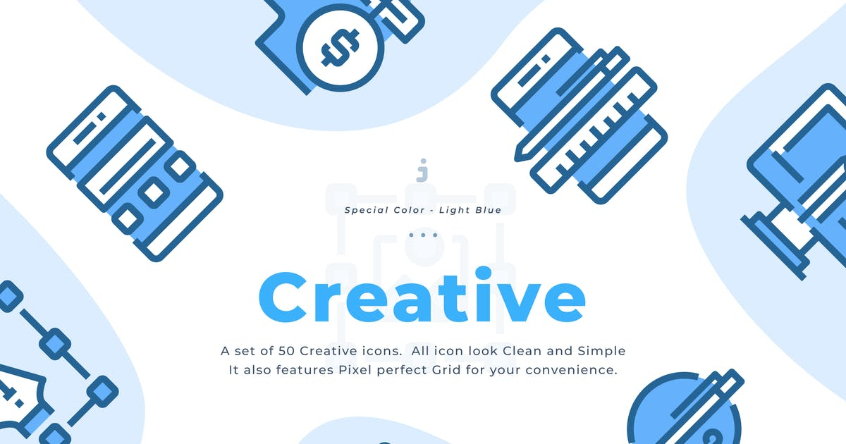 Download 50 Creative Icons - Light Blue by Justicon