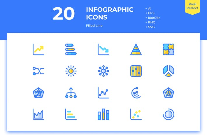 Thumbnail for 20 Infographic Icons (Filled Line)