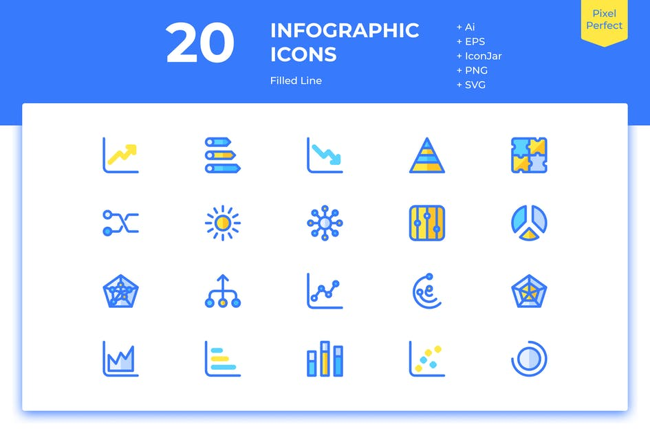 Download 20 Infographic Icons (Filled Line) by inipagi