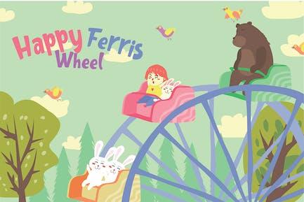 Ferris Wheel - Vector Illustration