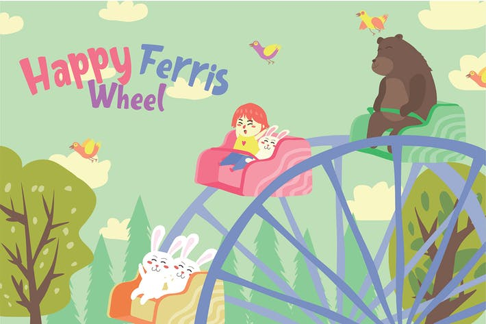 Cover Image For Ferris Wheel - Vector Illustration