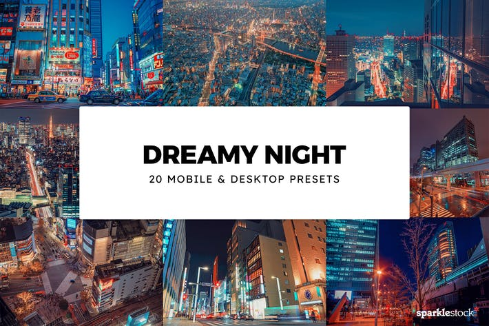 Thumbnail for 20 Dreamy Night Lightroom Presets & LUTs