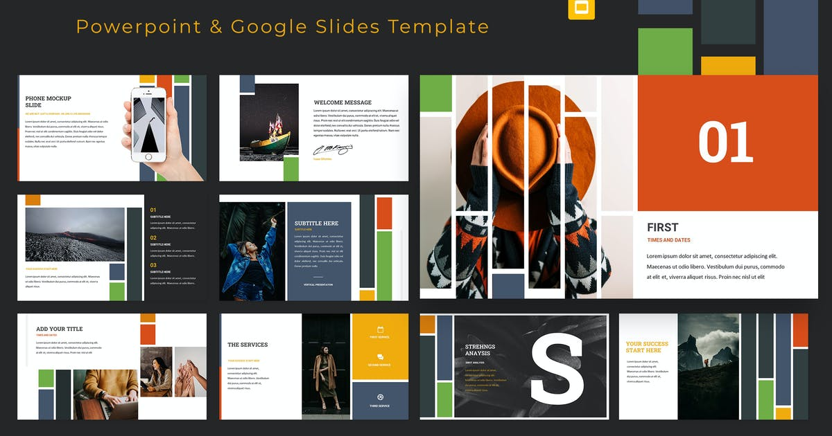Download Vertical Powerpoint & Google Slides Template by graphicboomstudio