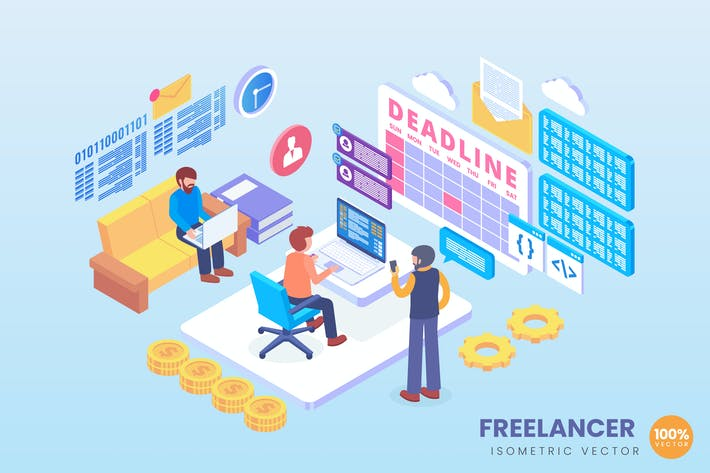 Thumbnail for Isometric Freelancer Deadline Vector Concept