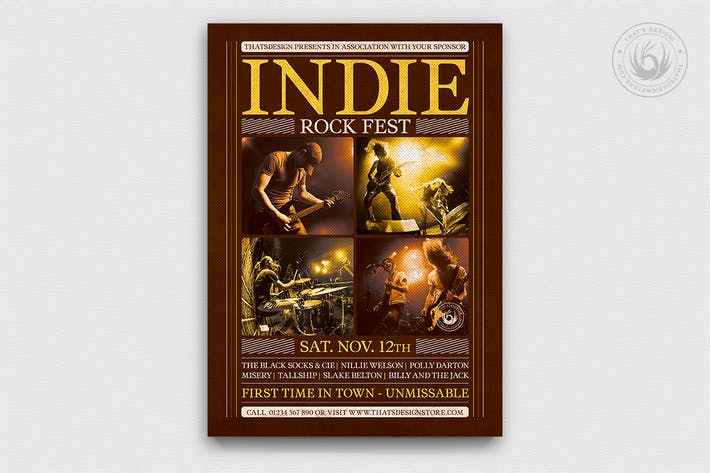 Thumbnail for Indie Rock Flyer Template V8