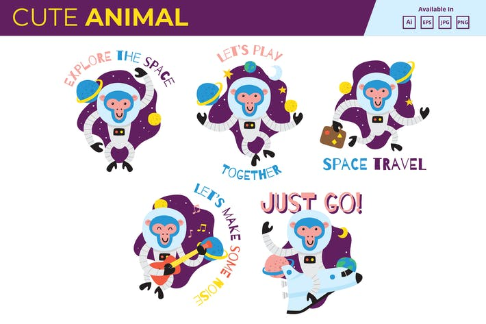 Thumbnail for Space Monkey collection JPG PNG