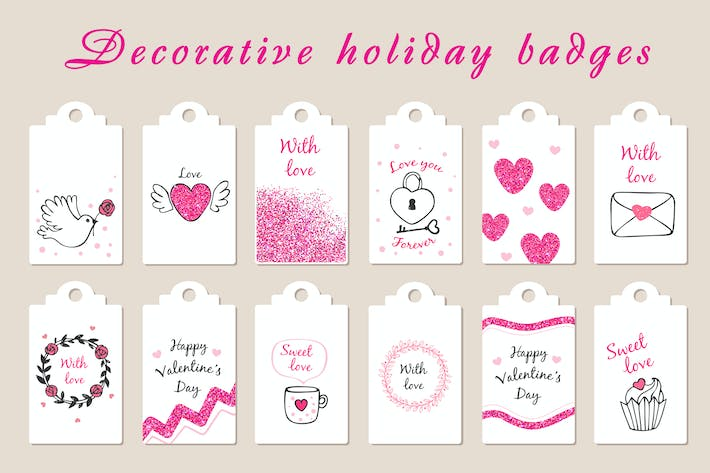 Thumbnail for Decorative Badges for Valentine's Day