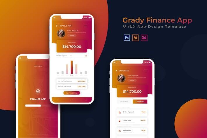 Thumbnail for Grady Finance | App Design Template