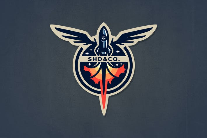 Thumbnail for Retro Rocket Badge Logo