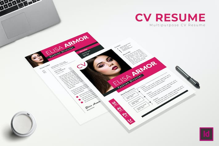 Thumbnail for Pink CV Resume Template