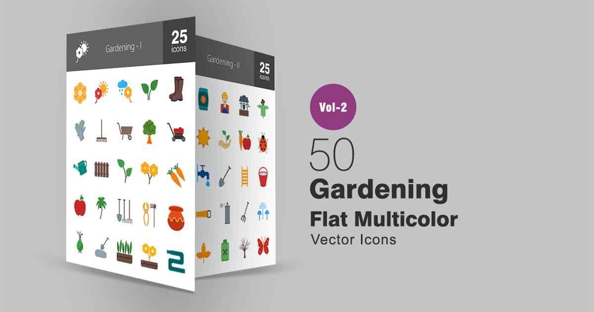 Download 50 Gardening Flat Multicolor Icons by IconBunny