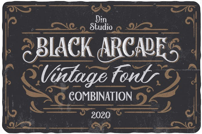 Thumbnail for Black Arcade Font Pack (Vintage Font Combination)