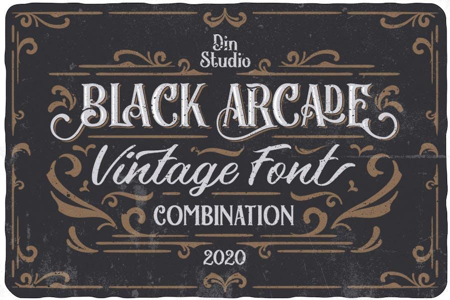 Black Arcade Font Pack (Vintage Font Combination)