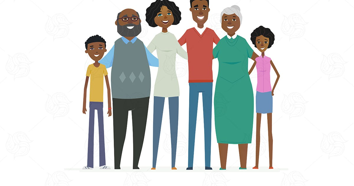 Download Happy African family - vector illustration by BoykoPictures
