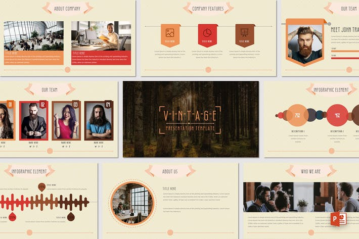 vintage powerpoint template by inspirasign on envato elements