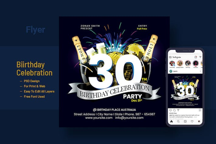 Thumbnail for Birthday Celebration Flyer Instagram Post Banner