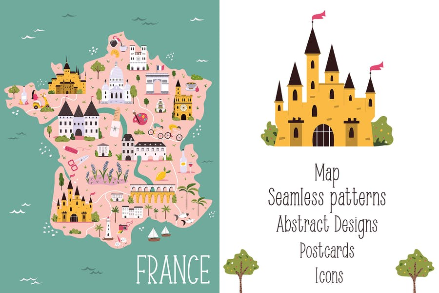 Bright Designs with Landmarks of France