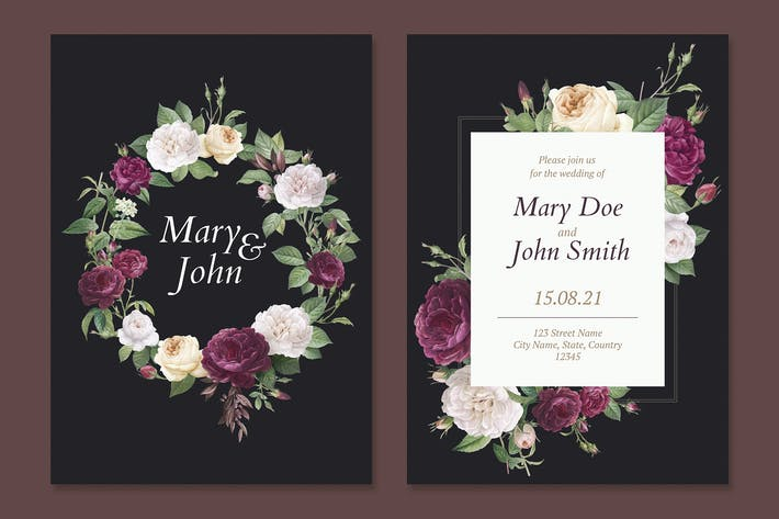 Cover Image For Floral wedding invitation card Template