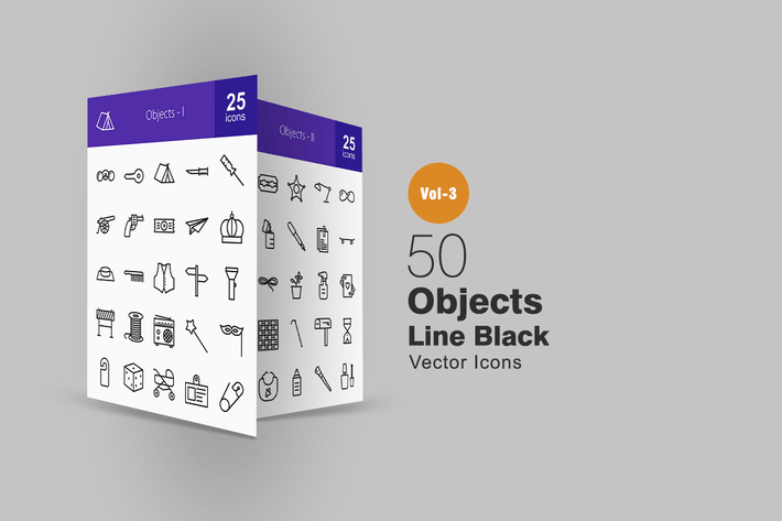 Thumbnail for 50 Objects Line Icons