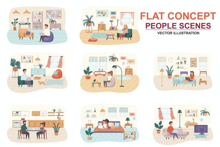 Thumbnail for Collection Freelance Flat Concept People Scenes