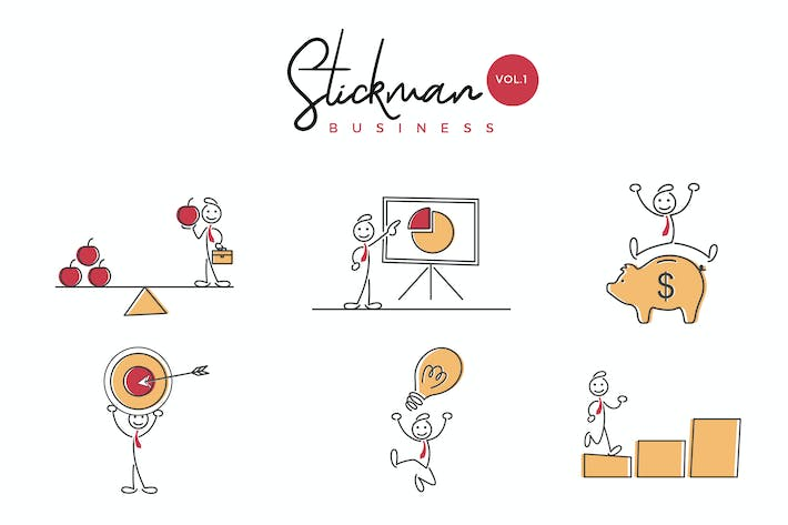 Thumbnail for Business Stickman Vector Illustration Set 1