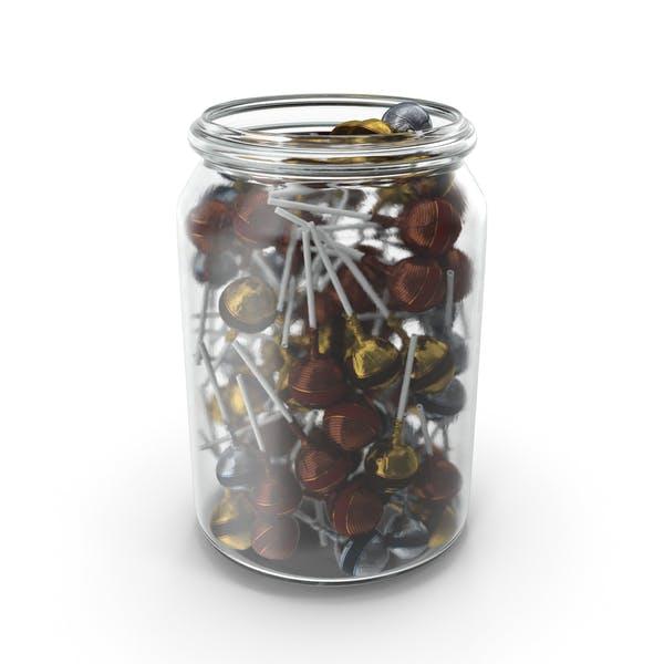 Jar with Wrapped Fancy Lollipops