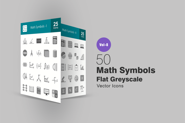 Thumbnail for 50 Math Symbols Flat Greyscale Icons