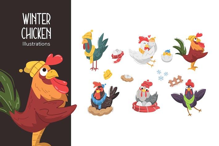 Winter-Huhn-Illustrationen