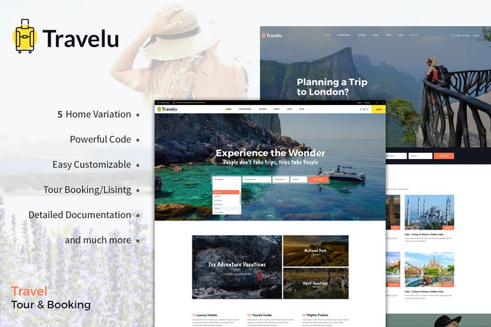 Thumbnail for Travelu - Plantilla de reserva de viajes, viajes