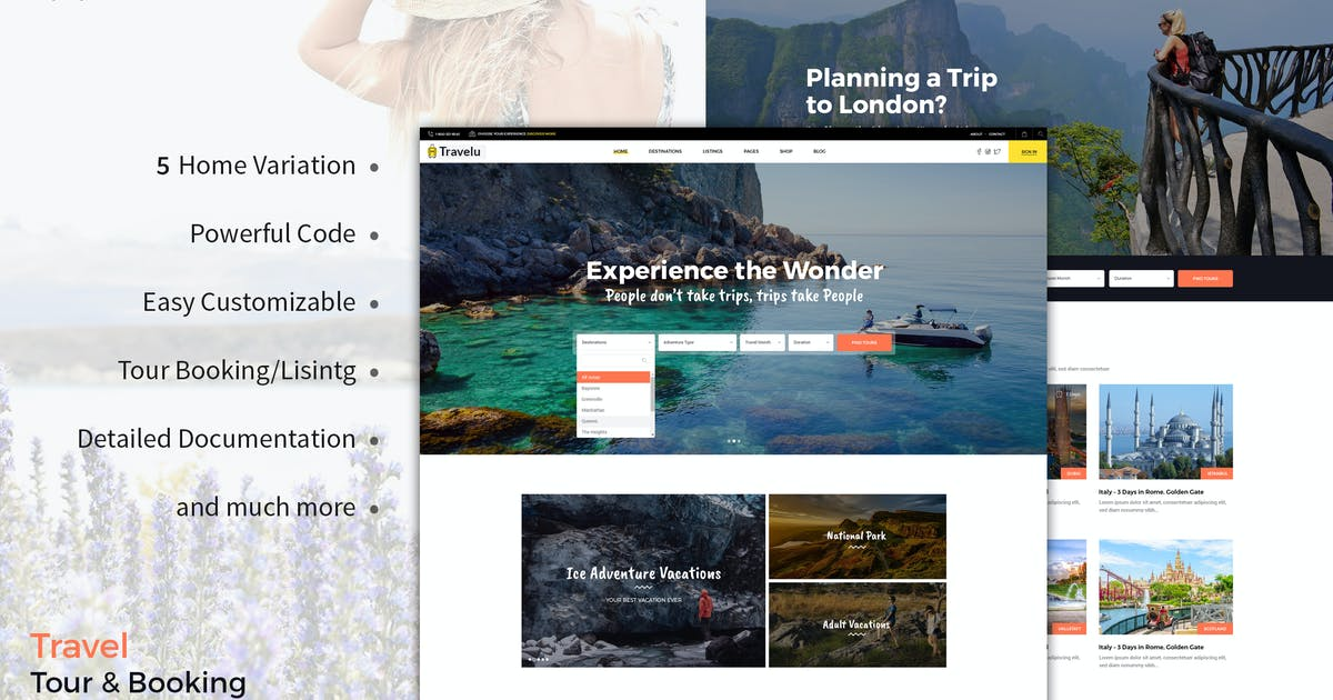 Download Travelu - Travel, Tour Booking Template by BrighThemes