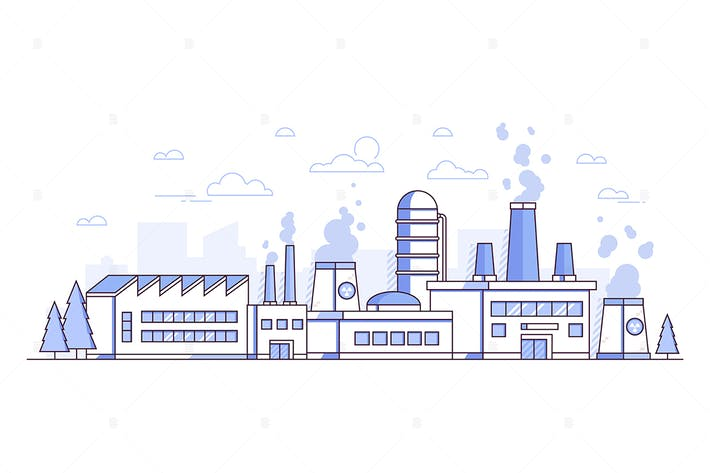 Thumbnail for City factory - line design style illustration