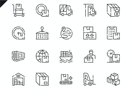Simple Set Package Delivery Line Icons