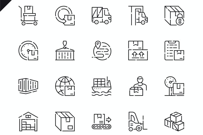 Thumbnail for Simple Set Package Delivery Line Icons